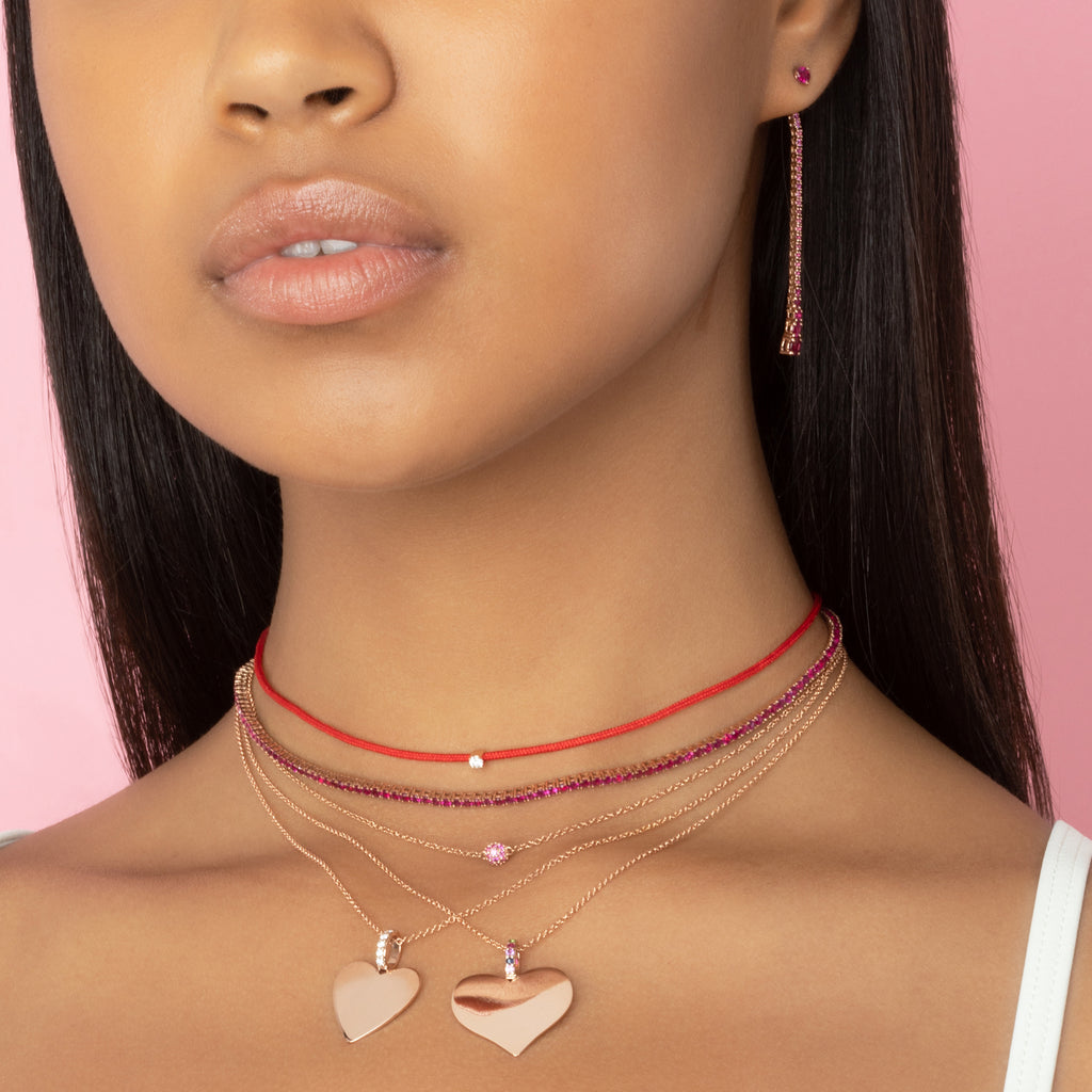 ROSE GOLD HEART WITH DIAMOND BALE PENDANT