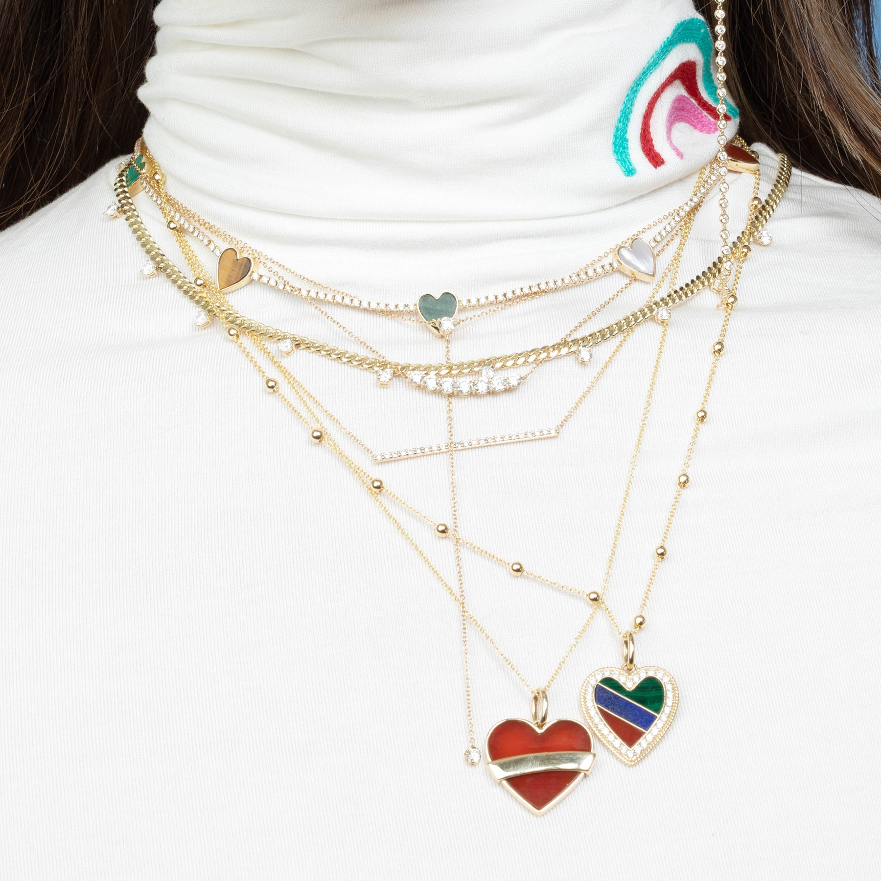 DIAMOND AND TRI COLOR HEART PENDANT