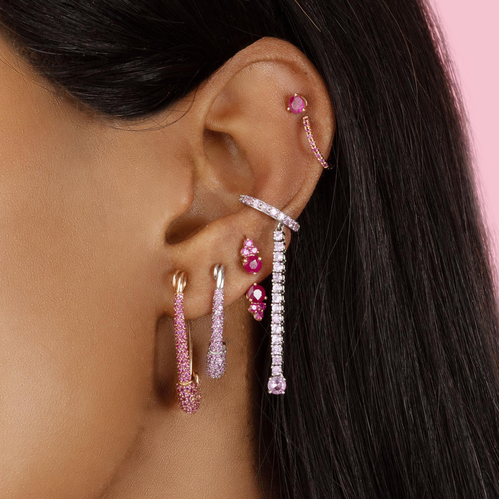 PINK SAPPHIRE MEDIUM SAFETY PIN EARRING