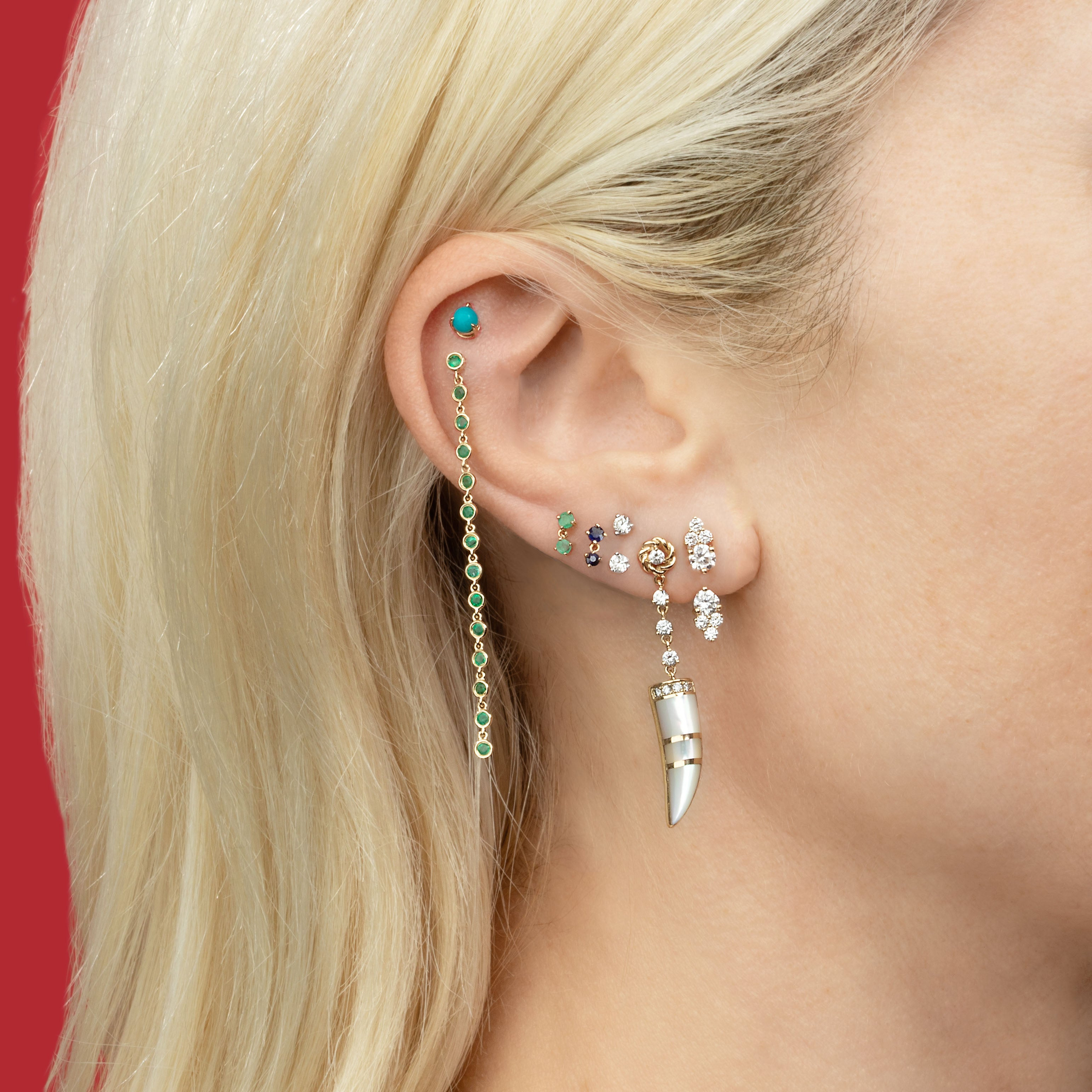 DIAMOND CLUSTER STUD AND EAR JACKET