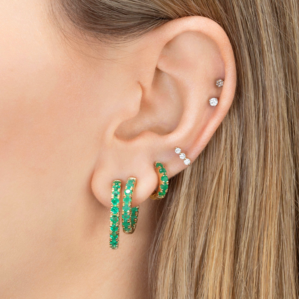 EMERALD LARGE ULTIMATE INSIDE OUT HOOP EARRING
