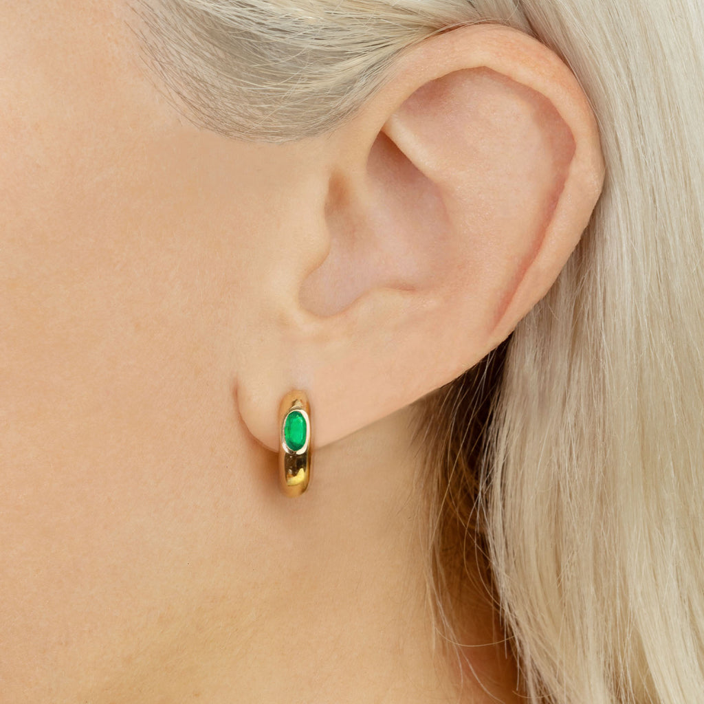 EMERALD OVAL SOLITAIRE WIDE HOOP #4 EARRING