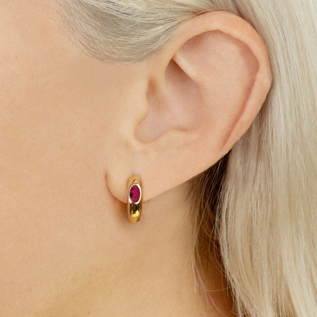 RUBY OVAL SOLITAIRE WIDE HOOP EARRING #4