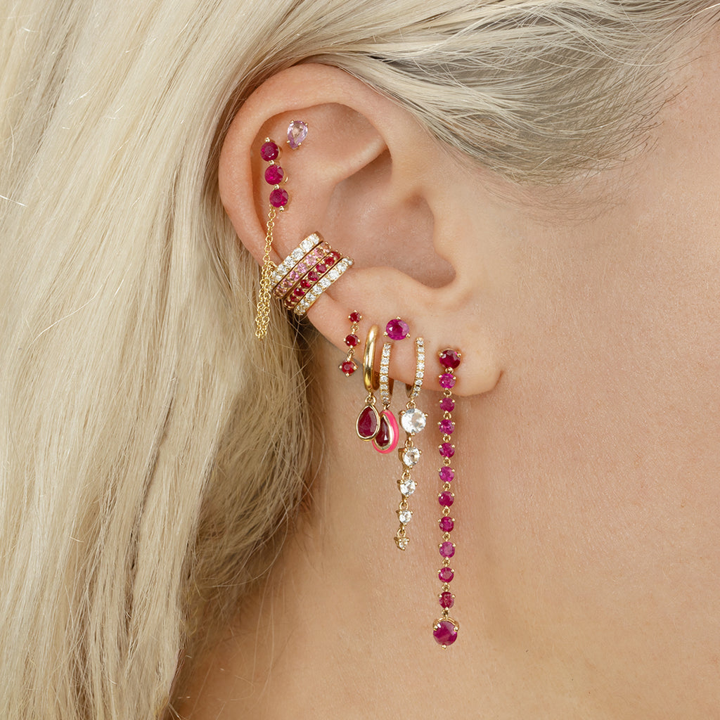 RUBY DROP CHAIN EARRING