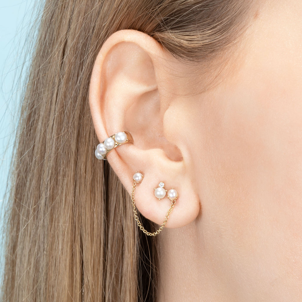 DIAMOND AND PEARL CLUSTER STUD EARRING