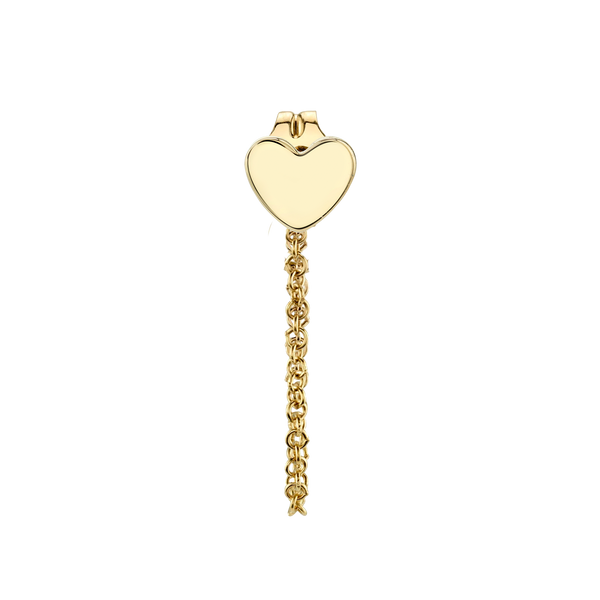 GOLD HEART AND CHAIN CONNECTED EARRING