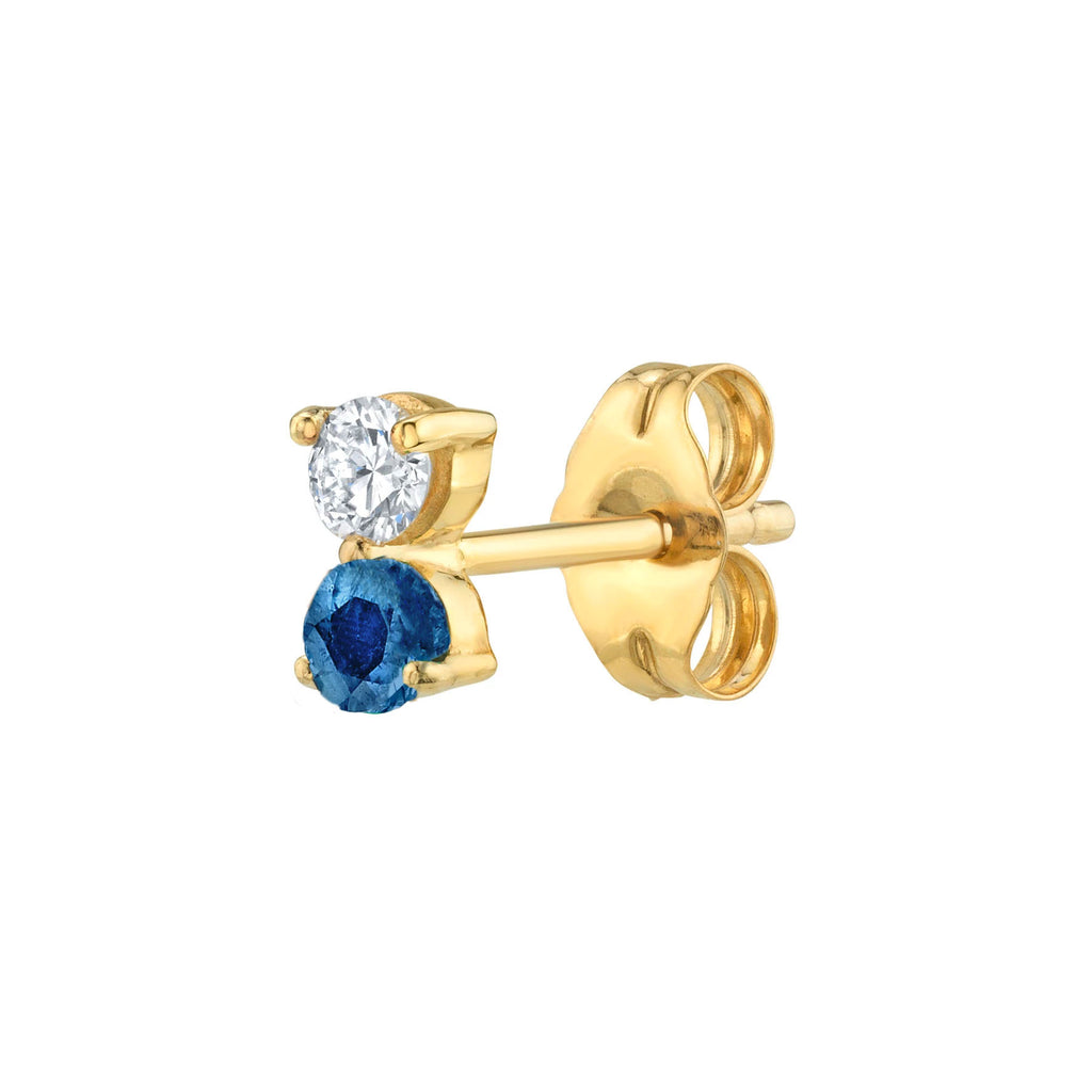 DIAMOND AND BLUE SAPPHIRE DOUBLE STUD EARRING