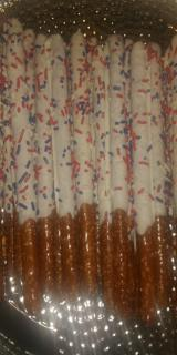 Chocolate Covered/Dipped Pretzel Rods - Red, White and Blue