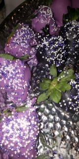 Chocolate Covered/Dipped Strawberries - Purple w/ Sprinkle Mix