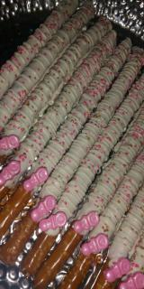 Chocolate Covered/Dipped Pretzel Rods - Baby Shower White Pink and Gold