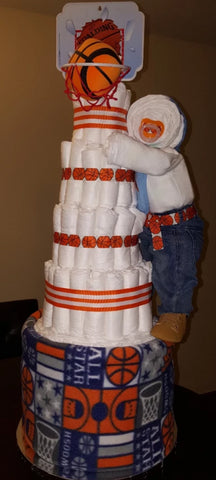 Diaper Cake - Basketball theme (with Hanging Baby)