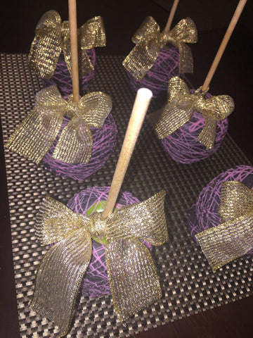 Chocolate Covered/Dipped Apples - Purple and Gold with Drizzle