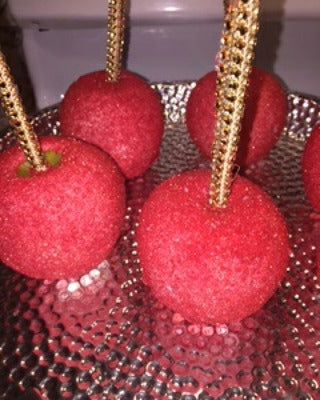 Chocolate Covered/Dipped Apples - Red and Gold w/ bling sticks