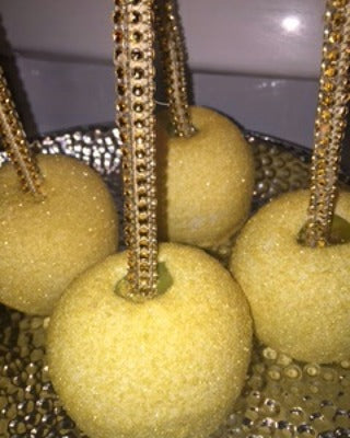 Chocolate Covered/Dipped Apples - Gold with Bling Sticks