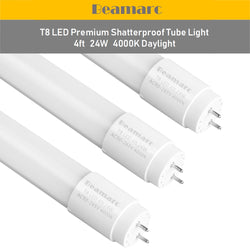 LED T8 Light Tube 4FT, Daylight Glow 4000K, Dual-End Powered Ballast Bypass, 2200 Lumen 24W (60W Equivalent) Frosted Cover