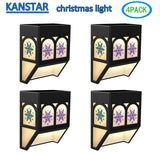 Solar Powered Christmas Snowflake Color Changing Mount Light Outdoor Landscape Garden Yard Fence Warm (4 pack)