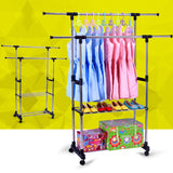 Kanstar Double Adjustable Heavy Duty Clothes Hanger Rolling Garment Rack