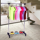 Kanstar Adjustable Rolling Garment Rack Heavy Duty Clothes Hanger w/ Shoe Rack Portable