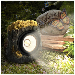 "6"" Solar Powered Tree Trunk bark design Garden Solar Rock Lights Outdoor Color Changing"
