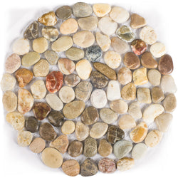Polished Cobblestone Pebble Tile for Walls, Floors, Garden, Yards (1 box with 6x 10''x10'' circle pieces)