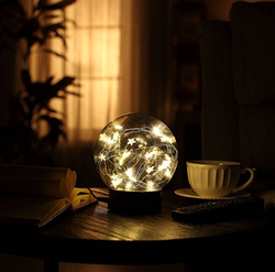 "Decorative Fairy Night Light - 6.5"" Dual Power Operated Glass Ball Sphere Lamp with Warm White Star String Lights Inside"