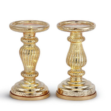 "Mercury Glass 8.5"" Lit Pillar Candle Holder with Timer- Silver(set of 2)"