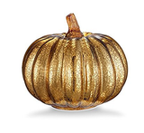 "Mercury Glass 5.5"" Battery Operated LED Pumpkin Lights with Timer - Gold"