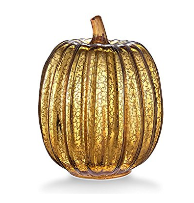 "Mercury Glass 7.7"" Battery Operated LED Pumpkin Lights with Timer -Gold"