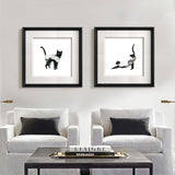 Kanstar Modern Black and White Spotty Dog Drawing Wall Art, Black Frame, 18.5''x18.5''
