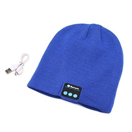 Upgraded Unisex Knit Bluetooth Beanie Hat Headphones V4.2 Unique Christmas Tech Gifts for Men/Dad/Women/Mom/Teen Boys/Girls Stocking Stuffer w/Built-in Stereo Speakers (Blue)