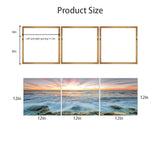 Kanstar Ocean Sea Sunrise Canvas Wall Art 12'' x 12'' x 3 Panels Wall Pictures Canvas Prints Artwork Stretched Framed for Living Room, Bedroom, Home Decoration