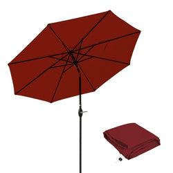 Patio Umbrella 9 Ft Aluminum Outdoor Table Market Umbrellas With Push Button Tilt and Crank, Safety Bolt,8 Ribs (Red)