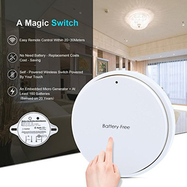 Wireless Switch Remote Control Light Switch and Receiver No Battery No Wiring