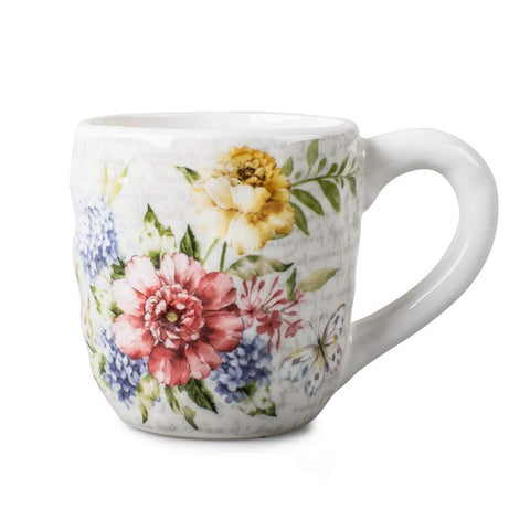 Porcelain Flower Butterfly Meadow Accent Mug, White.
