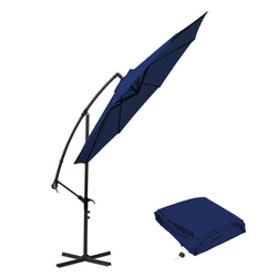 10 ft Offset Cantilever Patio Umbrella Outdoor Market Hanging Umbrellas & Crank with Cross Base, 8 Ribs (10 Ft, Navy Blue)