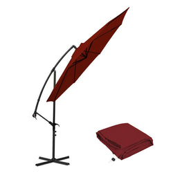 10 ft Offset Cantilever Patio Umbrella Outdoor Market Hanging Umbrellas & Crank with Cross Base, 8 Ribs (10 Ft, Red)