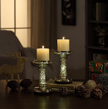 "7.8"" Mercury Glass Pillar LED Candle Holders with Timer- Gold (set of 2)"