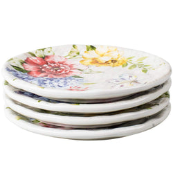 Porcelain Flower Butterfly Meadow Accent Plate set 10.5'' x 10.5'', White, Large, (set of 4)