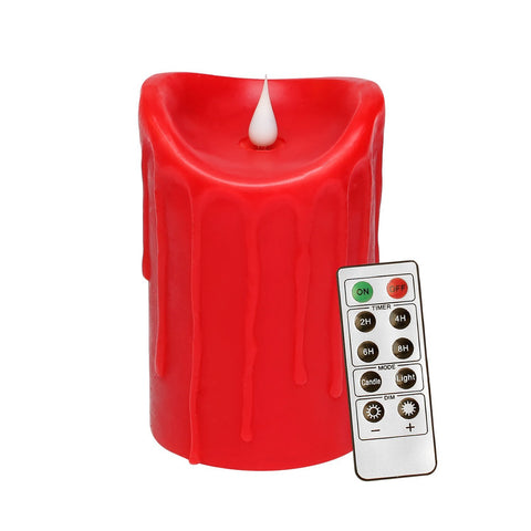 3D Flameless LED Pillar Decorative Candle with Remote Control, Battery Operated, 3.5x5.25, Red