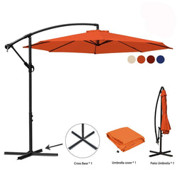 10 ft Offset Cantilever Patio Umbrella Outdoor Market Hanging Umbrellas & Crank with Cross Base, 8 Ribs (10 Ft, Orange)