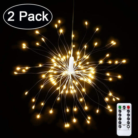 Kanstar Starry Firework Fairy String Lights, Battery Powered Waterproof Dimmable Fairy Decorative Light with Remote Control, 120 LED Starburst String Lights for Christmas Holiday Decorative Light (2 pack)