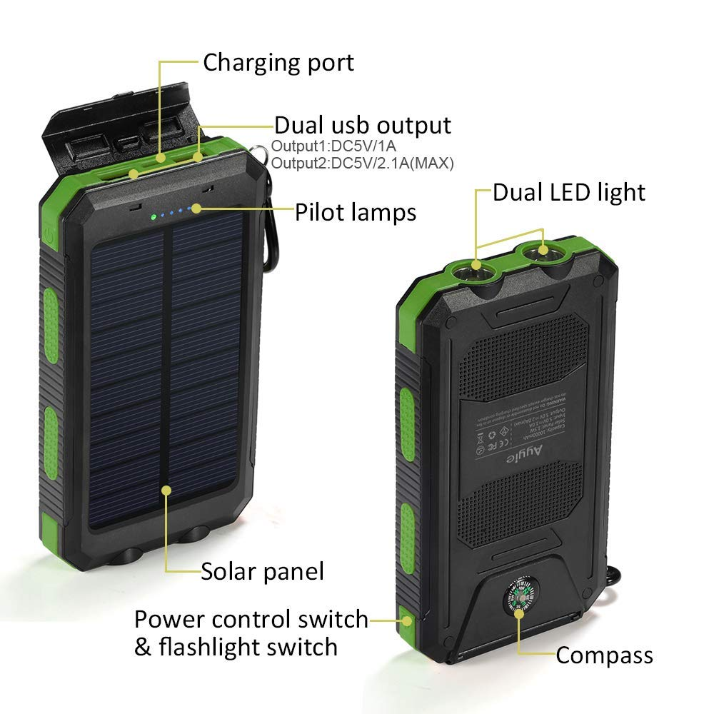 Solar Charger,8000mAh Solar Power Bank Portable External Backup Battery  Pack Dual USB Solar Phone Charger with 2LED Light Carabiner and Compass for