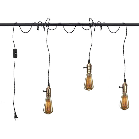 Vintage Pendant Light Kit Cord with Switch and Triple E26/E27 Industrial Light Socket Lamp Holder 25FT Twisted Black Cloth Bulb Cord Plug in Hanging Light Fixture