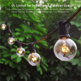 Kanstar Outdoor String Lights 25FT with 25 G40 Globe Bulbs UL-Listed for Indoor Outdoor Backyard Wedding Bedroom Patio Dancing Party, Black Wire