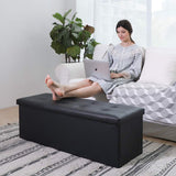 "43"" Faux Leather Folding Storage Ottoman Bench, Storage Chest / Footrest / Padded Seat"