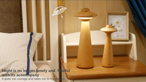 Magic Hue UFO Dimmable LED Table Lamp Bedside Nightstand Small Eye Caring Beech Wood Desk Lamp for Reading Working Study Bedside Bedroom Book Lights 10.2""