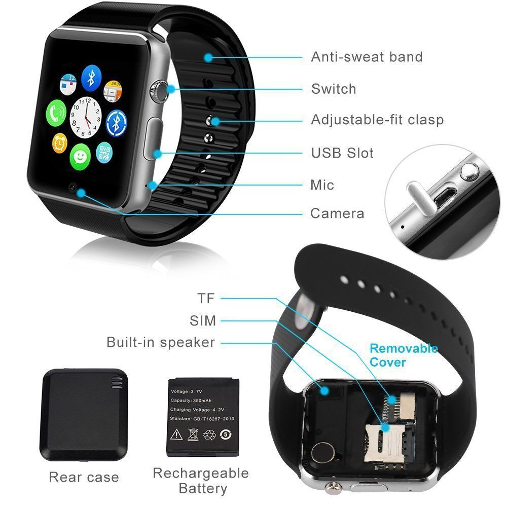 A1 Smart Watch Bluetooth Waterproof Gsm Sim Cam For Android Ios
