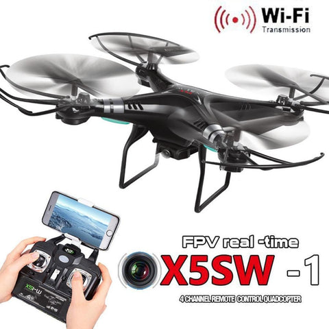 X5SW-1 RC Helicopter 6-Axis Gyro 2.4G 4CH Real-time Images Return RC FPV Quadcopter Drone Black (No Camera Version)