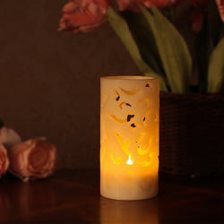 LED Hollowed-Out Pillar Candle with Timer ( Light Ivory )