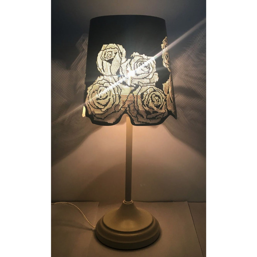 15 hollowed out metal rose antique white table lamp kanstar 15 hollowed out metal rose antique white table lamp aloadofball Images